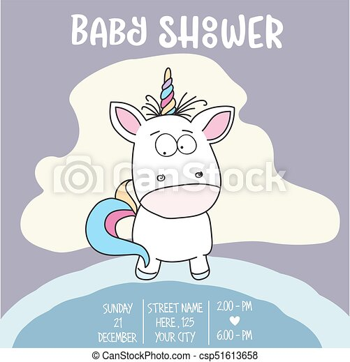 Beautiful Baby Shower Card Template With Lovely Baby  Clipart