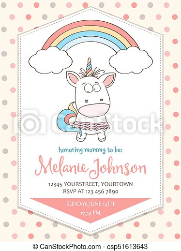 Beautiful Baby Shower Card Template With Lovely Unicorn Baby Girl
