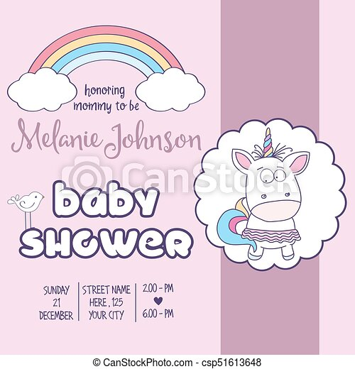 Beautiful Baby Shower Card Template With Lovely Baby Girl  Eps