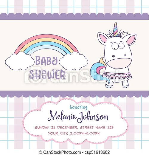 Beautiful Baby Shower Card Template With Lovely Baby Girl Unicorn    Csp51613682