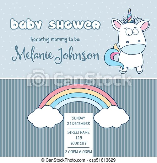 Beautiful Baby Shower Card Template With Lovely Baby Unicorn Vector