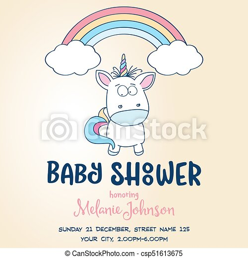 Beautiful Baby Shower Card Template With Lovely Baby Unicorn   Csp51613675