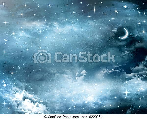 beautiful background, nightly sky  - csp16229364