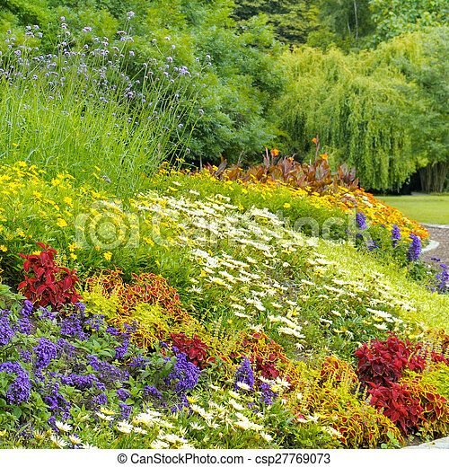 beautiful background of bright garden flowers - csp27769073