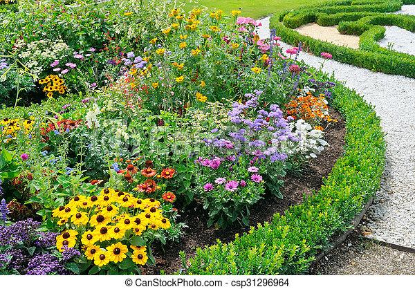 beautiful background of bright garden flowers - csp31296964