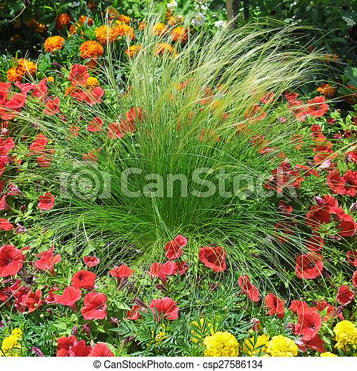 beautiful background of bright garden flowers - csp27586134