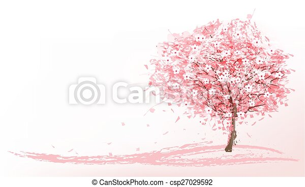 Beautiful background with a pink blooming sakura tree. Vector. - csp27029592