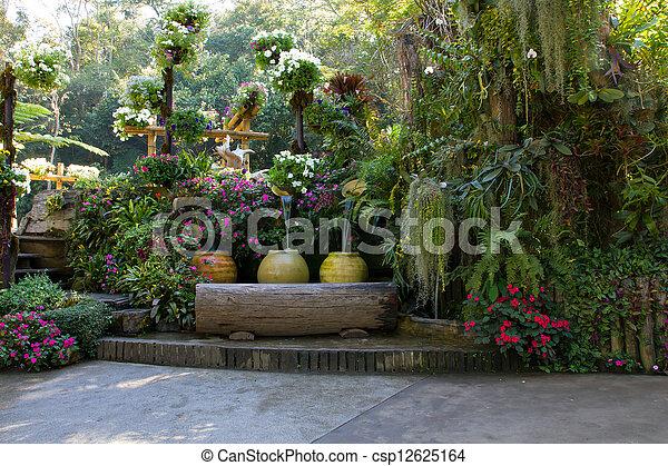beautiful backyard garden park scene - csp12625164