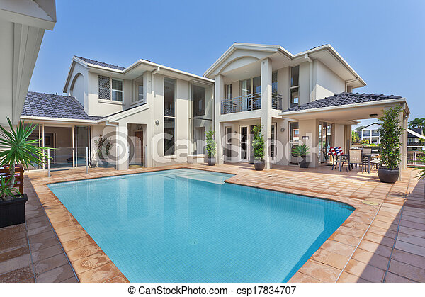 beautiful backyard with pool in australian mansion - Big Mansions With Pools