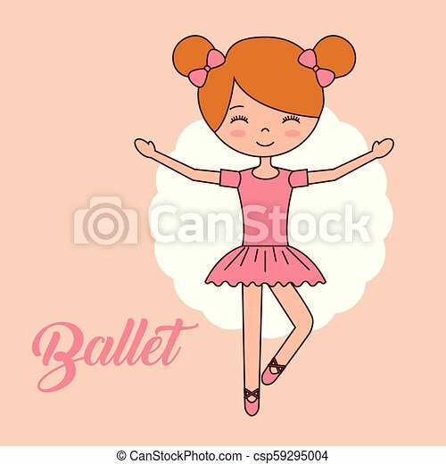 Beautiful Ballerinas Ballet Cartoon Character Beautiful Ballerina Ballet Girl Standing Hands Up Smiling Vector Illustration