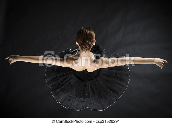 Beautiful Ballet Dancer Back Of Beautiful Ballerina In The Role Of A Black Swan Making Reverence Wearing Black Tutu On