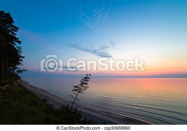 Beautiful Baltic sea coast landscape at sunset - csp30669960