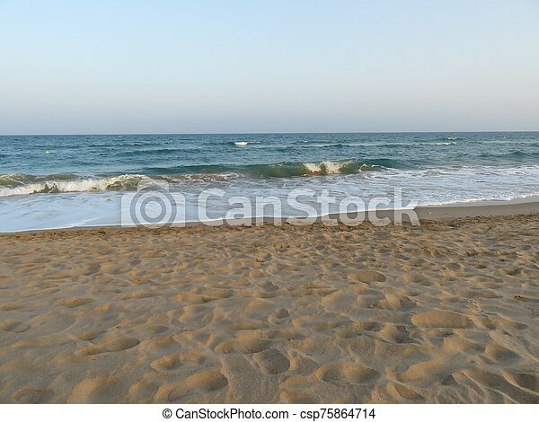 Beautiful beach a clear cold water for bathing in the summer - csp75864714