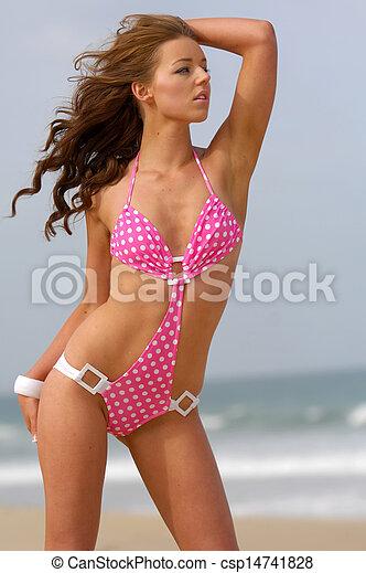 Beautiful beach bikini girl - csp14741828