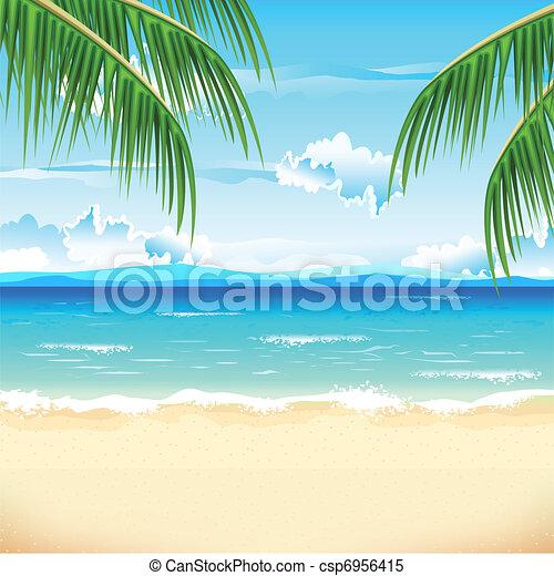 Beautiful beach. Illustration of sea beach with palm tree.