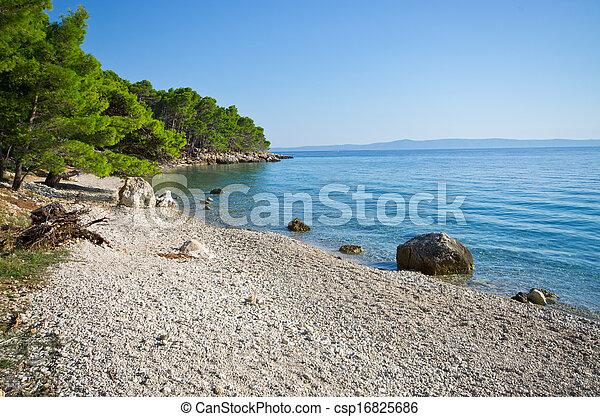 Beautiful beach on Croatian seashore, Makarska - csp16825686