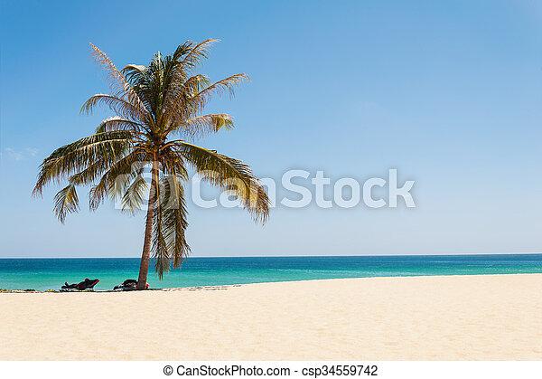 Beautiful beach with blue sea - csp34559742