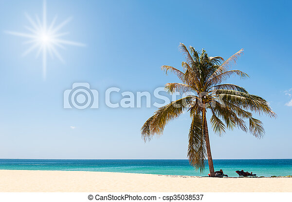 Beautiful beach with blue sea - csp35038537