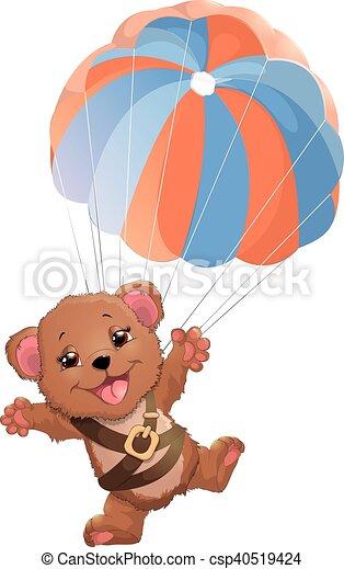 beautiful bear with parachute - csp40519424
