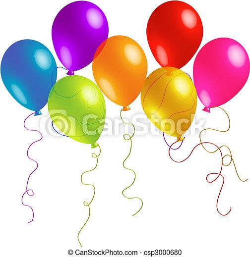 Beautiful Birthday Balloons with Long Ribbons - csp3000680
