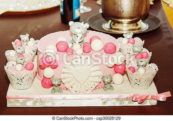 Beautiful birthday cake for baby girl selective focus stock photo