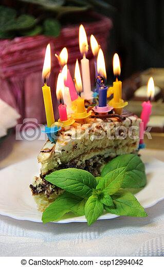 Beautiful Birthday Cake With Burning Candles