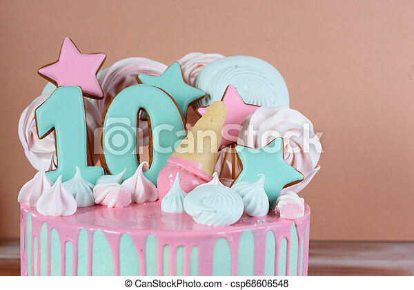 Astounding Beautiful Birthday Cake With The Number 10 In A Pink Tone And Air Funny Birthday Cards Online Elaedamsfinfo