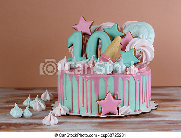 Astonishing Beautiful Birthday Cake With The Number 10 In A Pink Tone And Air Funny Birthday Cards Online Elaedamsfinfo