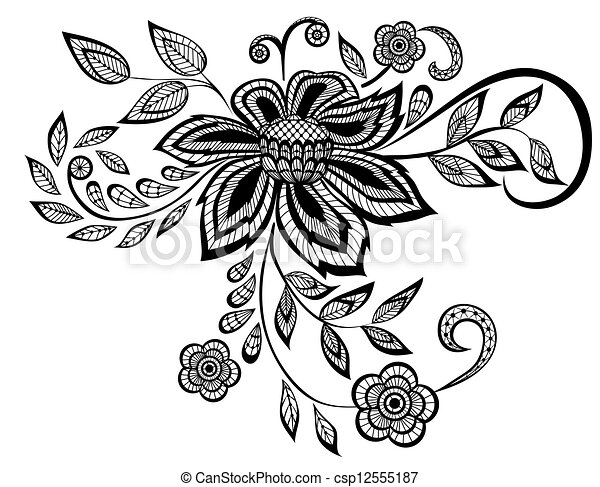 beautiful black and white floral pattern design element - csp12555187