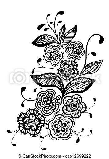 beautiful black and white floral pattern design element - csp12699222