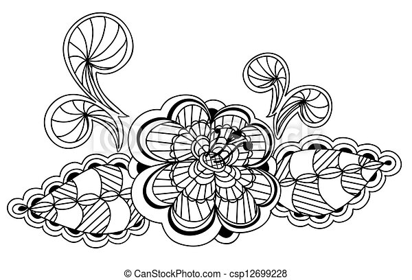 beautiful black and white floral pattern design element - csp12699228