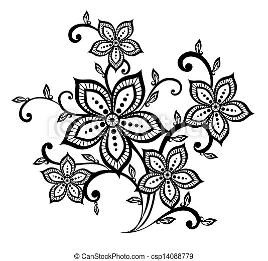 Beautiful Black And White Floral Pattern Design Element Many