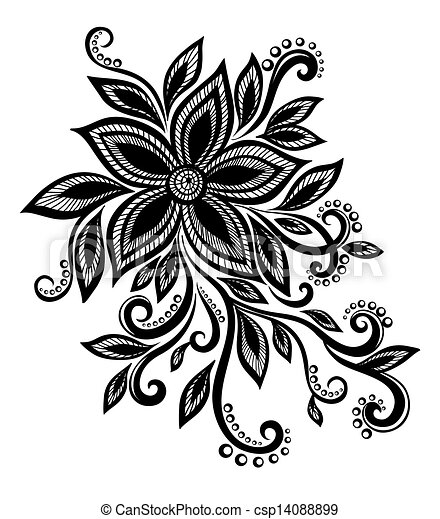Beautiful Black And White Flower With Imitation Lace Eyelets Design Element Vector