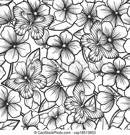 Beautiful black and white seamless background with branches of beautiful black and white seamless background with branches of flowering trees and butterflies csp18513653 mightylinksfo