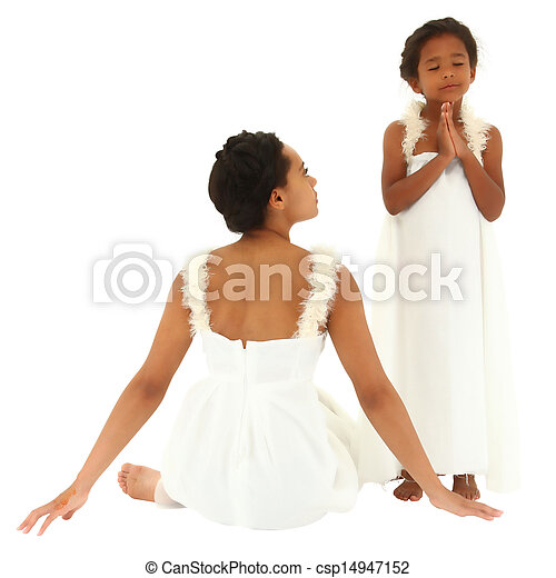 Beautiful black mother daughter portrait. Dressed as angels. Mom watching child pray. Clipping path. - csp14947152