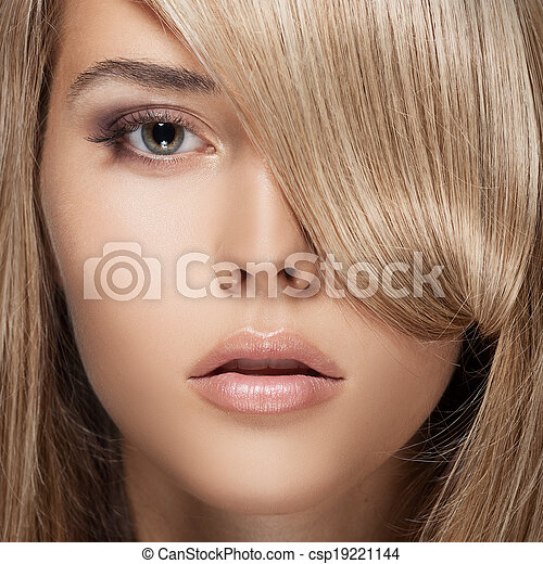 Beautiful Blond Girl. Healthy Long Hair.  - csp19221144