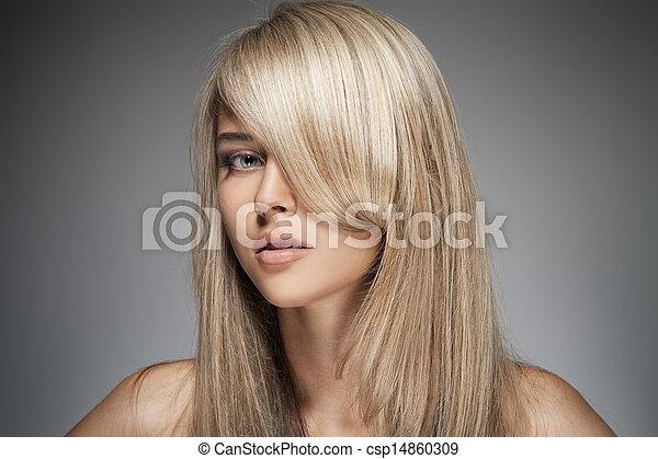 Beautiful Blond Girl. Healthy Long Hair. - csp14860309