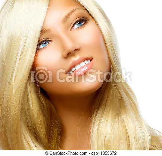 Beautiful Blond Girl isolated on a White Background  - csp11353672
