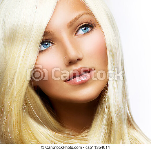 Beautiful Blond Girl isolated on a White Background  - csp11354014