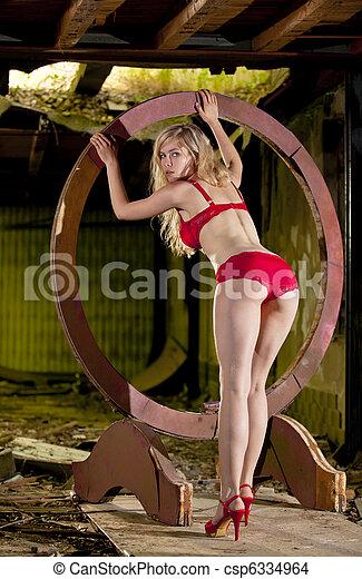 beautiful blond lingerie model - csp6334964