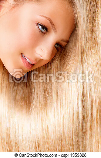 Beautiful Blond Long Hair. Blonde Girl Close-up Portrait  - csp11353828