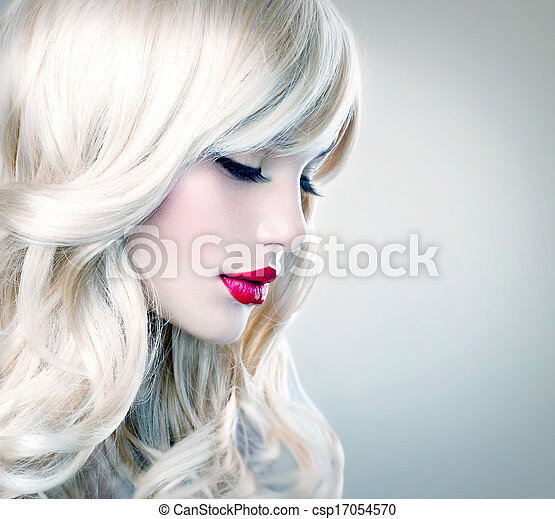 Beautiful Blond  with Healthy Long Wavy Hair. White Hair - csp17054570
