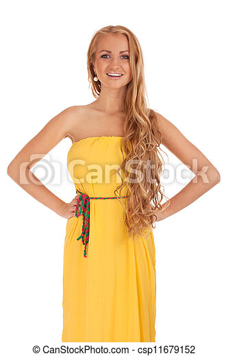 Beautiful blond woman in yellow dress - csp11679152
