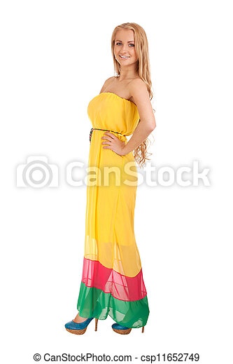 Beautiful blond woman in yellow dress - csp11652749