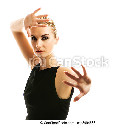 Beautiful blond woman isolated on white background - csp8094885