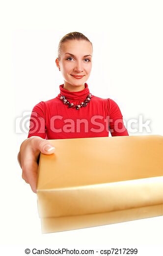 Beautiful blond woman with a gift box isolated on white background - csp7217299