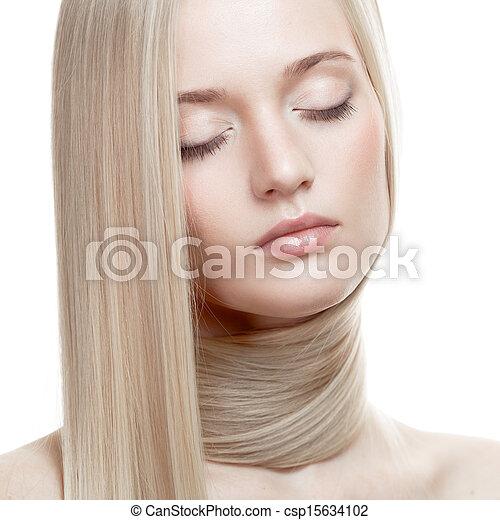 Beautiful Blonde Girl. Healthy Long Hair - csp15634102