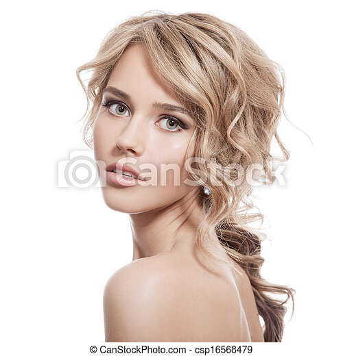 Beautiful Blonde Girl. Healthy Long Curly Hair. - csp16568479