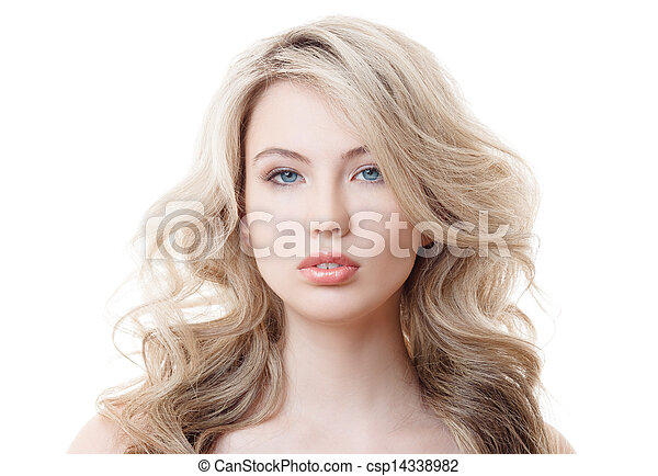 Beautiful Blonde Girl. Healthy Long Curly Hair. - csp14338982