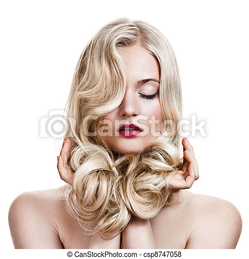 Beautiful Blonde Girl. Healthy Long Curly Hair.  - csp8747058